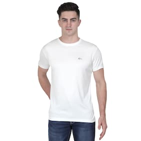 XOHY Men White Regular fit Polyester Round neck T-Shirt - Pack Of 1