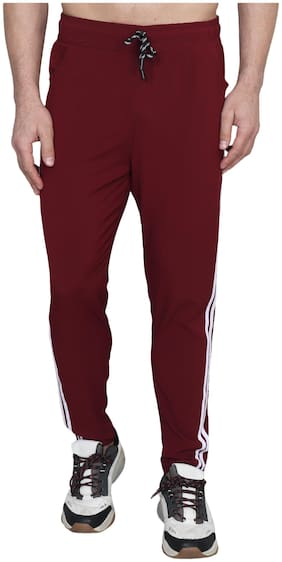 XOHY Men Maroon Solid Regular fit Track pants