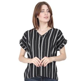 XOHY Women Striped Regular top - Black