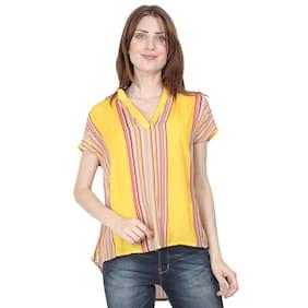 XOHY Women Viscose Rayon Striped Mustard Regular Top