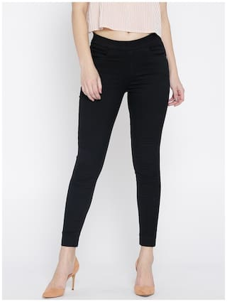 Xpose Women Regular Fit Mid Rise Solid Jeans - Black