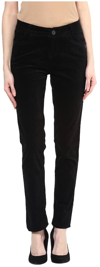 Xpose Women Straight Fit High Rise Solid Jegging - Black