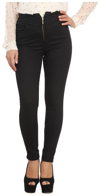 Xpose Women Regular Fit High Rise Solid Jegging - Black