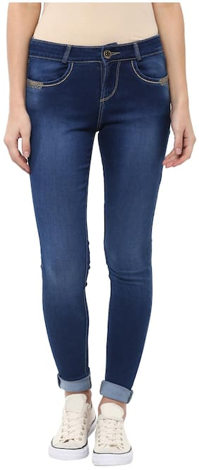 Xpose Women Regular Fit Mid Rise Solid Jeans - Blue
