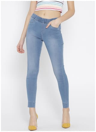 Xpose Women Flared Fit Mid Rise Printed Jeans - Blue