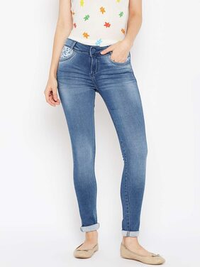 Xpose Jeans with Floral Embroidery Pockets