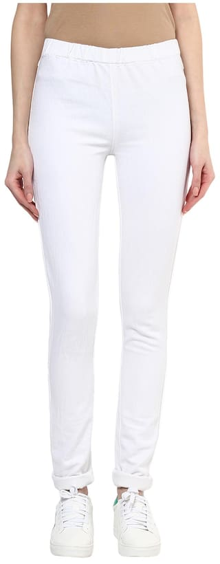 Xpose Women Slim Fit High Rise Solid Jegging - White