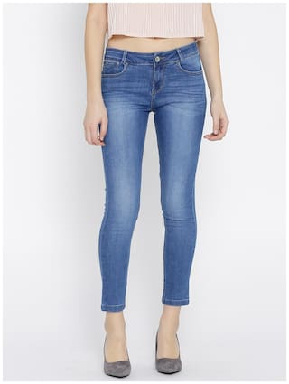 Blue Rise Look Slim Women Jeans Xpose Clean Mid Stretchable Fit Cropped 1CwRn46q