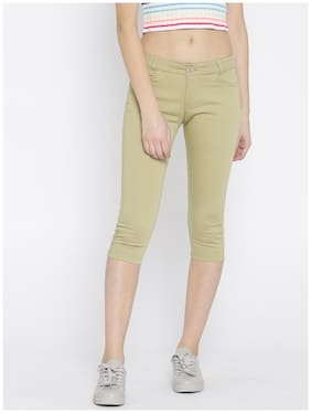 Xpose Women Khaki Solid Slim Fit Capris