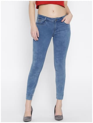 Mid Women Rise Cropped Slim Clean Jeans Xpose Fit Blue Stretchable Look wxaIqq1