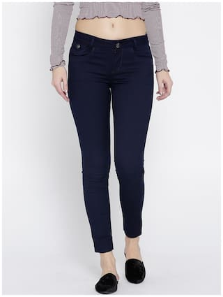 Xpose Women Straight fit Mid rise Printed Jeans - Blue