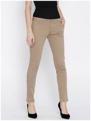 Xpose Women Brown Slim Fit Solid Slim Trousers