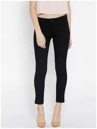 Xpose Fit Rise Jeans Mid Women Black Distressed Cropped Mildly Stretchable Slim rqwrtf