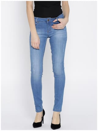 Xpose Women Blue Slim Fit Mid-Rise Low Distress Stretchable Jeans