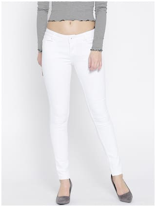 Xpose Women Regular Fit Mid Rise Embellished Jeans - White