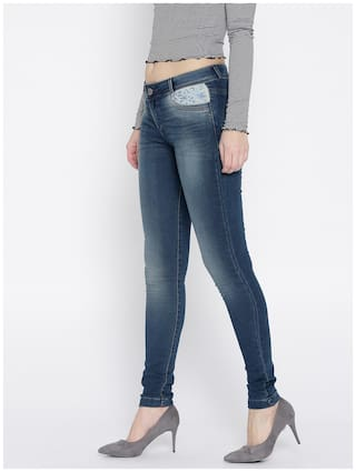Mid Xpose Stretchable Fit Rise Women Look Jeans Slim Clean Navy Iq4Iw
