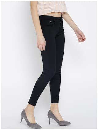 Fit Women Jeans Black Look Slim Mid Rise Xpose Clean Stretchable Rwpq7Pp