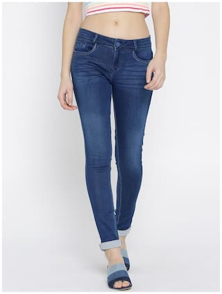 Xpose Women Slim Fit Mid Rise Solid Jeans - Blue