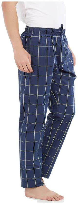 XYXX Men Cotton Checked Pyjama - Blue