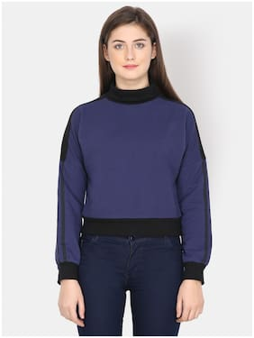 YAADLEEN Women Solid Sweatshirt - Blue