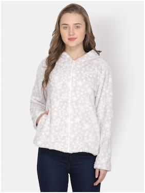 YAADLEEN Women Printed Hoodie - Grey