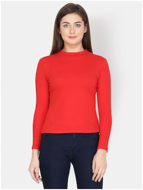 YAADLEEN Women Solid Sweatshirt - Red