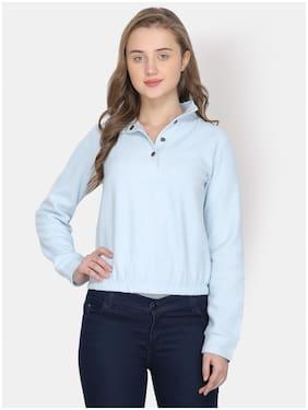 YAADLEEN Women Solid Sweatshirt - Blue