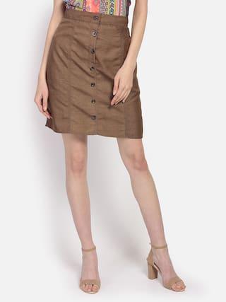 YAADLEEN Solid A-line skirt Mini Skirt - Brown