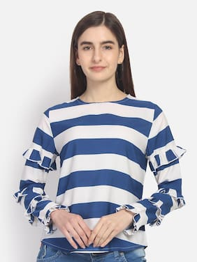 YAADLEEN Women Striped Regular top - Blue & White