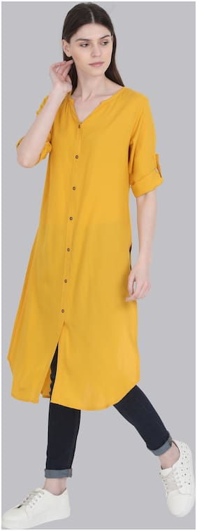 Yaanvi Women Yellow Solid Straight Kurti