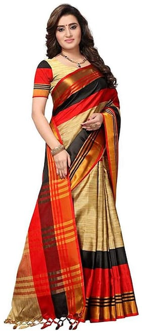 Yaarns Women Red Cotton Silk Woven Handloom Saree With Blouse Material