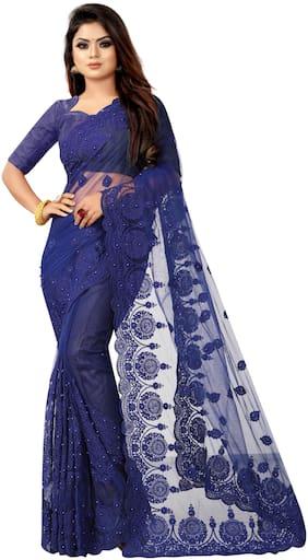 Yara Creation Net Patali Blue Embroidered Designer Saree For Women