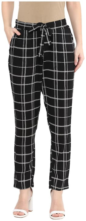 Women Checked Cigarette Pants