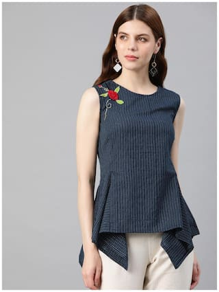 Yash Gallery Women Embroidered Regular top - Blue