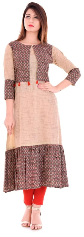 Yash Gallery Women Cotton Printed A line Kurta - Beige
