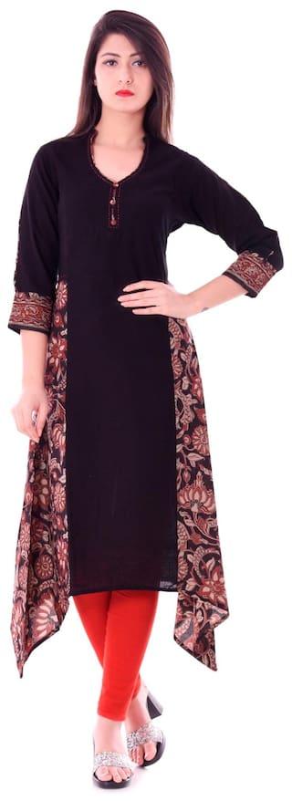 Yash Gallery Women Cotton Floral Assymetrical Kurta - Multi