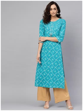 Women Bandhani Straight Kurta