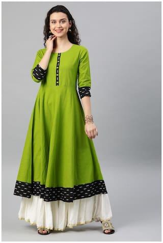 Yash Gallery Women Green Solid Anarkali Kurta