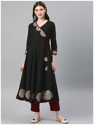 Yash Gallery Women Black Printed Anarkali Kurta