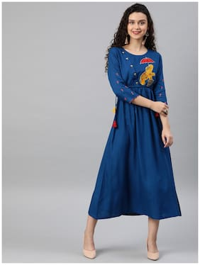 Women Embroidered Anarkali Fusion Dresses