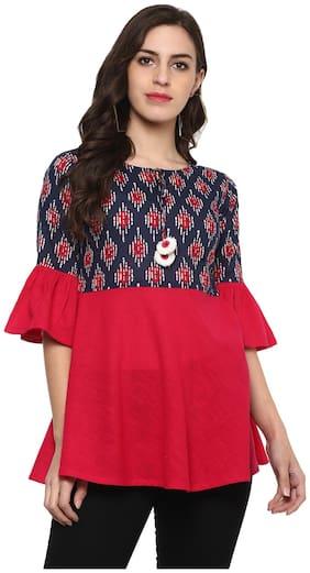 Yash Gallery Women Cotton Printed - Regular Top Pink