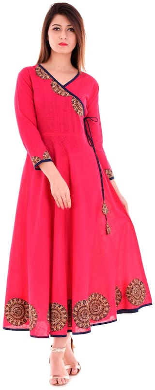 Yash Gallery Women Pink Embroidered A-Line Kurta