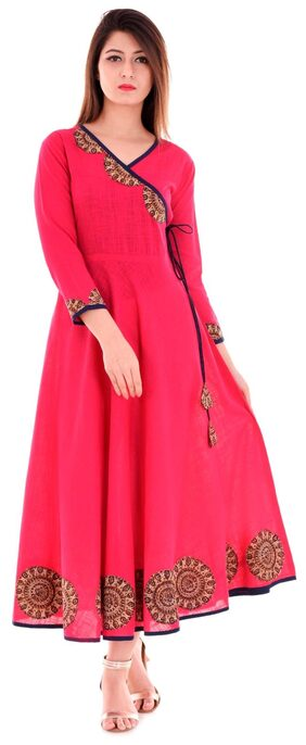 Yash Gallery Women Cotton Embroidered A Line Kurta - Pink