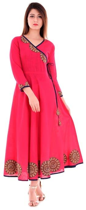Yash Gallery Women Cotton Embroidered A line Kurta - Pink