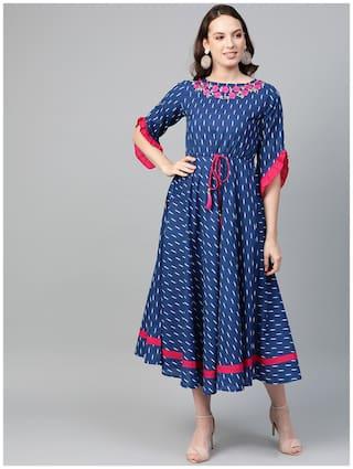 Yash Gallery Women Blue Embroidered Anarkali Kurta
