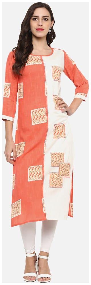 Yash Gallery Women Cotton Printed Straight Kurta - Multi