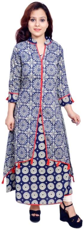 Yash Gallery Women Cotton Abstract Layered Kurta - Grey