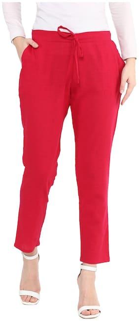 Yash Gallery Women Regular fit Solid Cigarette pants - Pink