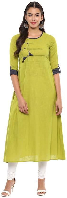 Yash Gallery Women Cotton Solid Anarkali Kurti - Green