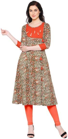 Yash Gallery Women Cotton Floral A line Kurta - Multi